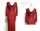 Red Wiggle Dress // vintage Red Sparkle Wiggle Prom Party Dress Size S