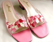 vintage Pink illusion slip on Sandals Shoes size 8