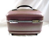 vintage Lilac Train Case Carry On Luggage Tote American Tourister