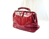 Red Doctors Bag / vintage eel skin Handbag Purse Bag