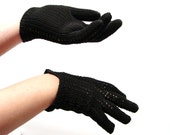 Black Gloves / vintage 1950s Black Crochet Gloves / the Audrey Hepburn