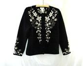 Black Cardigan / vintage 1980s Black White Embroidered  Wool Cardigan Sweater