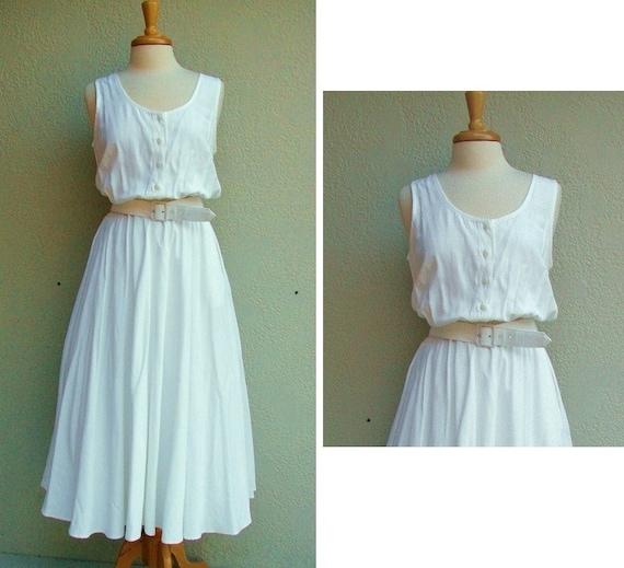 vintage 1980s White Summer Dress