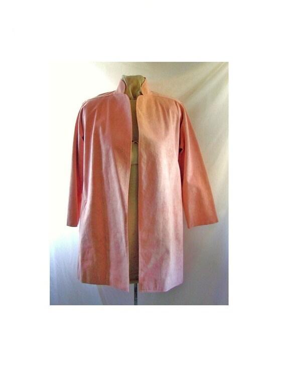 Pink Suede Jacket / vintage Pink  Suede Leather Swing Jacket Coat