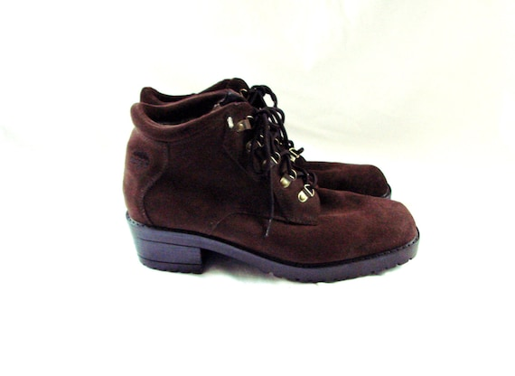 SALE lace up boots / vintage 80s Brown Leather Ankle Lace Up Granny Boots Shoes size 10