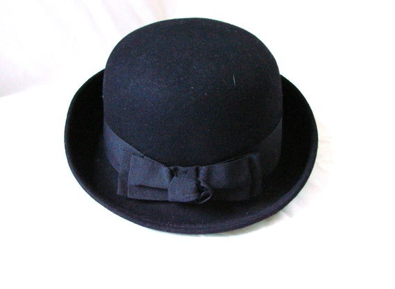 Derby Hat / vintage Black Derby Mod Hat