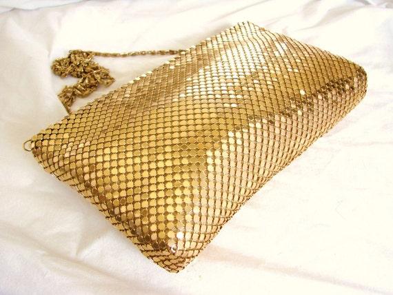 RESERVED Gold Mesh Shoulder Bag // 1980s RETRO Glam Gold Mesh Handbag Shoulder Bag Purse