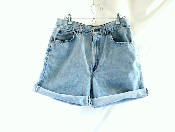 Pale Blue Denim Shorts /  vintage 1980s Denim Chic Jeans High Waist Shorts size 14