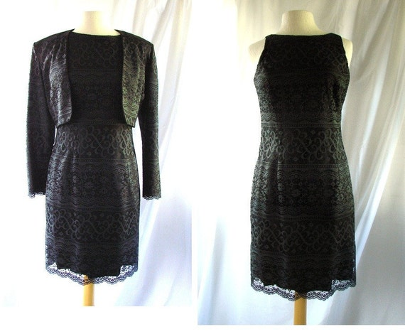 RESERVED RESERVED RESERVED black lace dress and jacket  / 1980s lace dress and jacket  / Little Black Lace