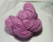 100 yards, Hand Spun, hand dyed varigated pink single ply wool yarn