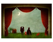 Theater At Night Surreal Collage Art Print Card