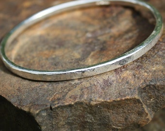Silver oval bangle heavy forged