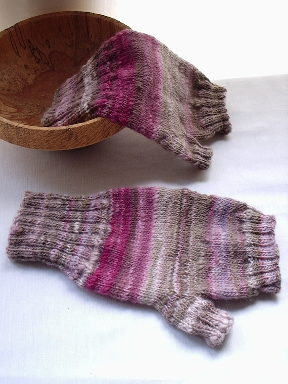 Fingerless Gloves - Late Season in the Walled Rose Garden-  handknitted in handspun yarn
