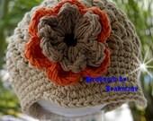 SALE...Newborn - 3 month Beige Visor Beanie with flower - Orange, Army Tan, Brown