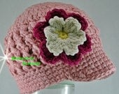 SALE...5T - Preteen Pastel Pink Visor Beanie with flower - Hot Pink, Cream of White, Yellow