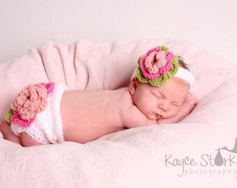 Layered Flower Diaper cover & Headband Newborn