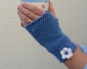 FINGERLESS mitts . Merino/alpaca/silk blend. Ladies . Teen.  Small.(Denim blue with white Angora flower)..... Ready to ship......