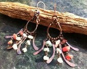 Hammered Copper Earrings DANCING DAWN