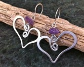 Custom Order for Amy: 6x Heart Hammered Earrings HEART ME (PURPLE)