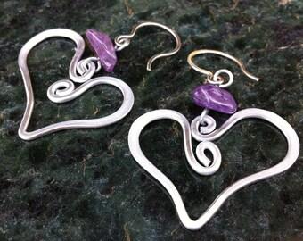 Purple Heart Hammered Earrings