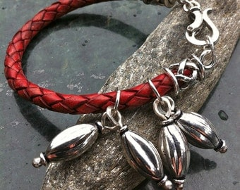 Red Leather Braided Bracelet  FEARLESS with Sterling Silver Hinged Hook