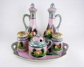 Lustreware Made in Japan Hand Painted Condiment Set