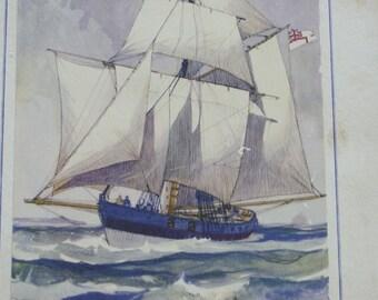 SALE! 50% OFF Vintage Gordon Hope Grant lithograph, The English 14-gun Revenue Cutter of 1815