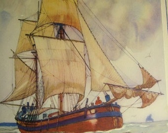 SALE! 50% OFF Vintage Gordon Hope Grant lithograph, The Howker sailing ships nautical illustration