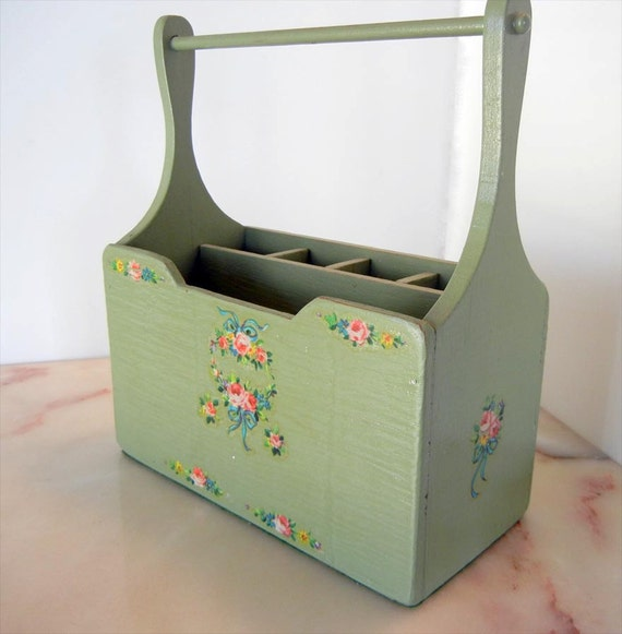 Vintage Mint Green Wooden Napkin and Silverware Holder