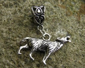 Wolf Charm, Antiqued Silver Bracelet Charm and Bail, Werewolf Jewelry, For Necklace or Bracelet, Wolf Jewelry, Game of Thrones Jewelry, Larp
