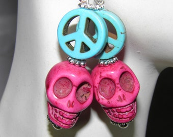 Day of the Dead Earrings, Sterling Silver Turquoise Peace Sign Skull Jewelry, Frida Kahlo, Day of the Dead Jewelry Hippie Halloween Earrings