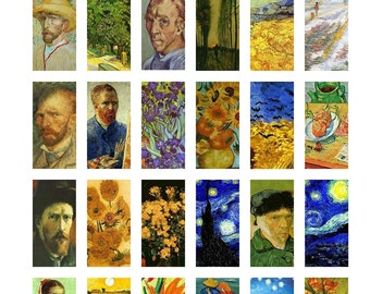 """Vincent Van Gogh Art Paintings Digital Collage Sheet Domino Tile Size 1"""" x 2"""" inch 25mm x 50mm Sunflowers No.4 Instant Download"""