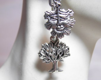 Game of Thrones Earrings, Sterling Silver and Pewter Tree Green Man Earrings, Wiccan, Steampunk Jewelry, Old Gods, Game of Thrones Jewelry