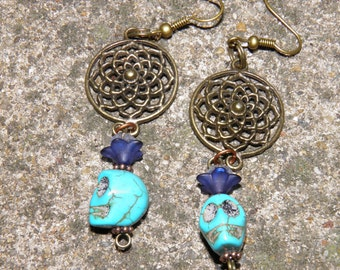 Day of the Dead Earrings, Blue Turquoise Skull Earrings, Frida Kahlo, Halloween Jewelry, Day of the Dead Jewelry, Halloween Earrings, Goth