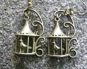Bird Earrings, Bird Jewelry, Victorian Style Birdcage Earrings, Antiqued Brass Steampunk Jewelry, Bird in Cage Charms, Birdcage Jewelry