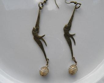 Bird Earrings, Swallow Earrings, Bronze Bird Jewelry, Hand Wire Wrapped Genuine Vintage Pearls, Steampunk Jewelry, Steampunk  Earrings #2