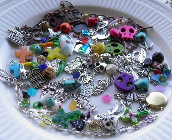 Day of the Dead Jewelry Charms 100 Plus Pcs HUGE Assortment Lampwork Beads Turquoise Skull Jewelry Earrings Bracelet Halloween Charms Goth