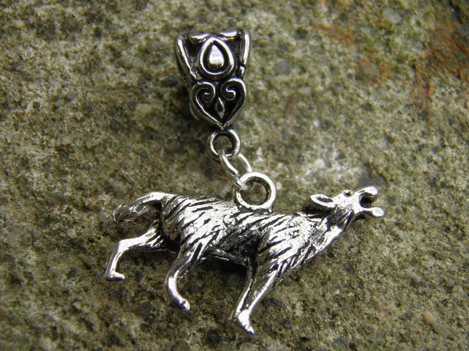wolf charm antiqued silver bracelet charm and bail