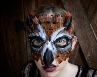 Feather Great Horned Owl Mask, owl costume, owl mask,mardi gras mask,bird costume, adult mask, child mask, Halloween costume, Halloween mask