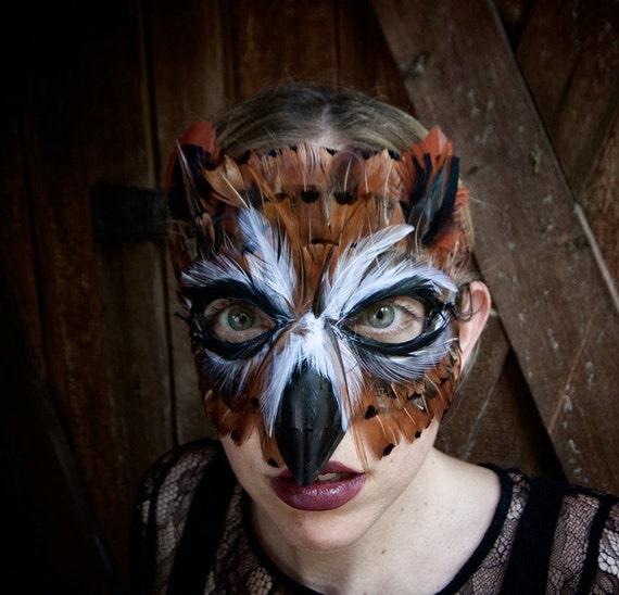 Feather Great Horned Owl Mask, owl costume, owl mask, bird costume, adult mask, child mask, Halloween costume, Halloween mask