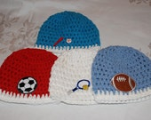 Crocheted Sport Beanies ,    All Cotton ,    You Choose Your Sport         Choose Either  Soccer,  Baseball,  Tennis Or Football