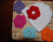 Baby And Toddler Crocheted  White Cotton Baby Beanie AND Headband  With 5 Interchangeable   Button On Flowers