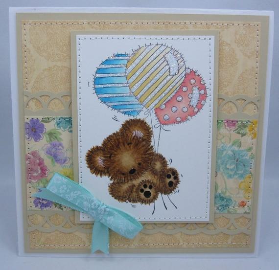 Teddy Bear Flying around - Handmade Greeting Card