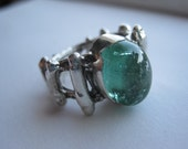 Green Tourmaline In Sterling SIlver Coral Pirate Ring