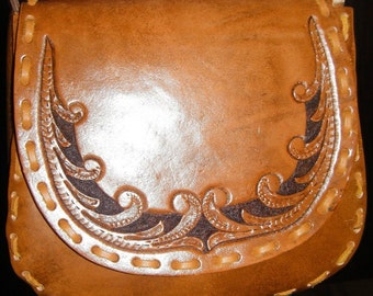 Hand Tooled leather Handbag Purse