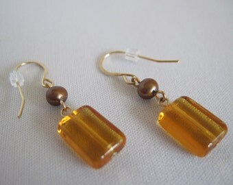 Amber Glass & Bronze Pearl 14K Goldfill Earrings
