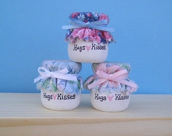 Wooden Candle cup 1 -  Three Hugs and Kisses in Blue