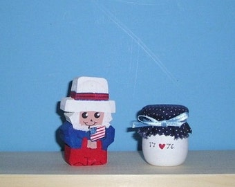 Wooden candle cups 24 - Uncle Sam holding the flag