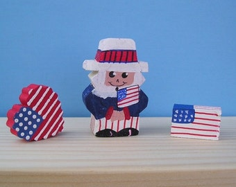wood mini 32 - Uncle Sam with Flags