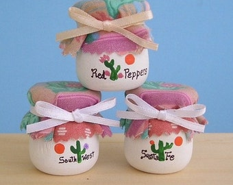 Wooden Candle Cups 26 - Southwest in Pink and green